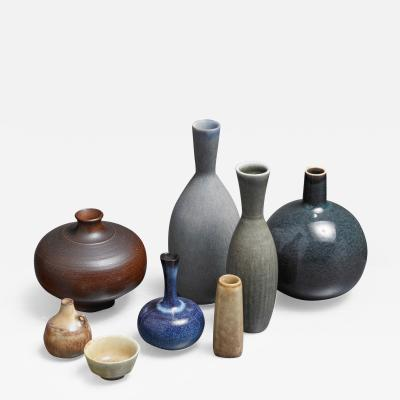 Carl Harry St lhane Collection of Eight Ceramic Pieces by Stalhane and Nylund for Rorstrand Sweden