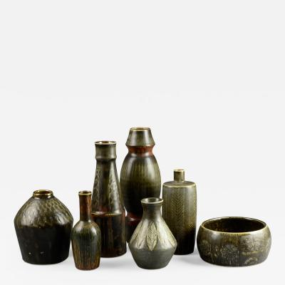 Carl Harry St lhane Group of seven Atelje vases by Carl Harry Stalhane for Rorstrand