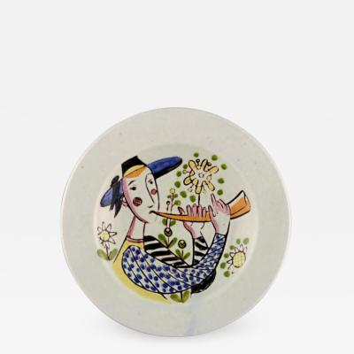 Carl Harry St lhane Hand painted bowl in glazed stoneware decorated with man in field