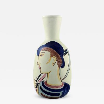 Carl Harry St lhane Vase in glazed ceramics Hand painted farmer motif