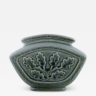 Carl Harry St lhane Vase in glazed stoneware with foliage in relief