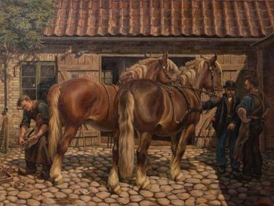 Carl Hertz Antique Oil Painting of a Farrier and Draft Horses by Carl Hertz