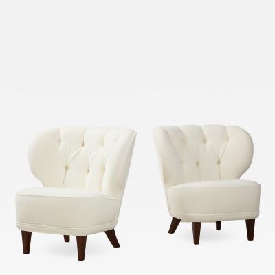 Carl Johan Boman Rare Pair of Ivory Velvet Tufted Easy Chairs by Carl Johan Boman