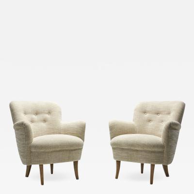 Carl Malmsten Carl Malmsten Upholstered Armchairs for O H Sj gren Sweden 1960s
