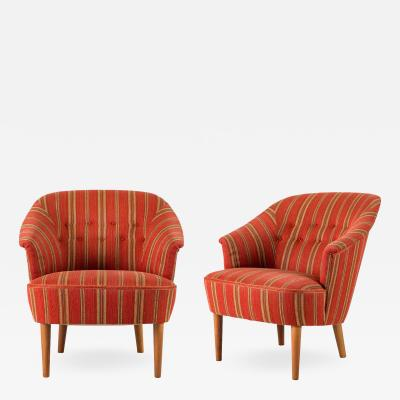 Carl Malmsten Pair of Carl Malmsten Lillasyster Lounge Chair