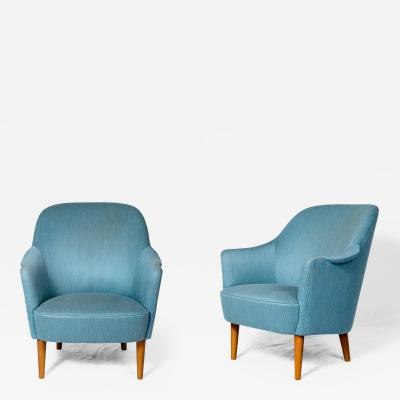 Carl Malmsten Pair of Carl Malmsten Samspel Lounge Chairs