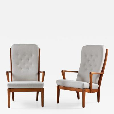 Carl Malmsten Pair of Scandinavian Midcentury Lounge Chairs by Carl Malmsten