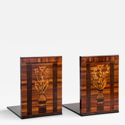 Carl Malmsten Pair of Swedish Grace Period Marquetry Bookends