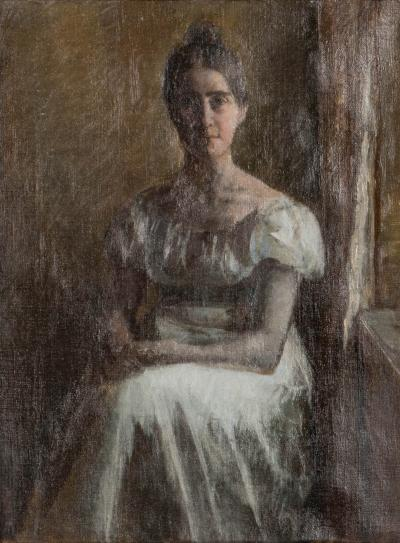 Carl Thomsen Original Oil on Canvas Portrait of a Seated Woman in White by Carl Thomsen