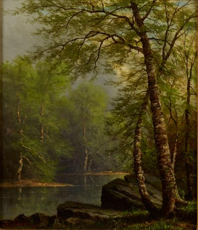 Carl or Charles Christian Brenner BIRCH TREES ALONG THE RIVER BY CARL BRENNER 1838 1888