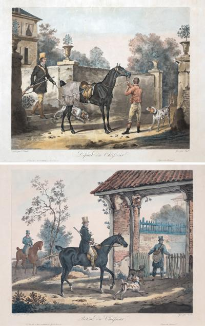 Carle Vernet PAIR OF 19TH CENTURY COLOURED LITHOGRAPHS AFTER CARLE VERNET ENGRAVED BY JAZET