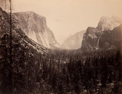Carleton E Watkins Mammoth Plate Photograph Up Yosemite Valley from Mariposa Trail 27