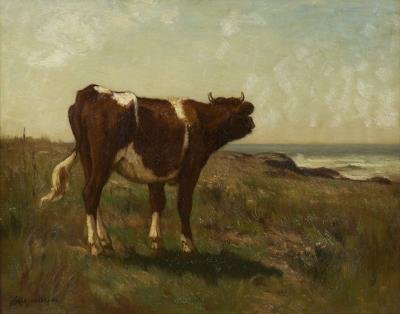 Carleton Wiggins A Young Cow Barbizon Landscape Painting by Carleton Wiggins