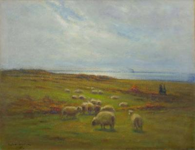 Carleton Wiggins Glimpse of the Sea Oil Landscape Painting on Canvas by Carleton Wiggins