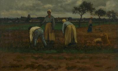 Carleton Wiggins Potato Pickers Landscape Barbizon Painting by Carleton Wiggins American