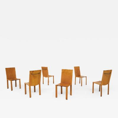 Carlo Bartoli Set of six chairs by Matteograssi in leather Model Carol from 1980s Italy