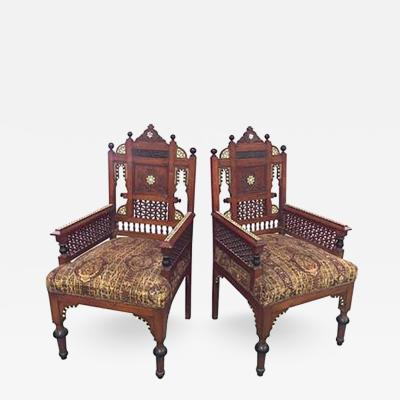 Carlo Bugatti Pair of Exceptional 19th Century Moorish Armchairs in the manner of Bugatti