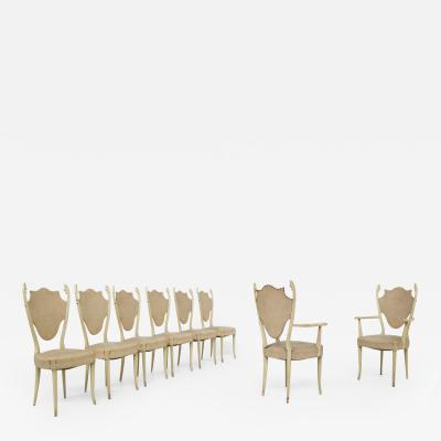Carlo Enrico Rava Italian white Chairs by Carlo Enrico Rava in lacquered ash six pieces 1950s