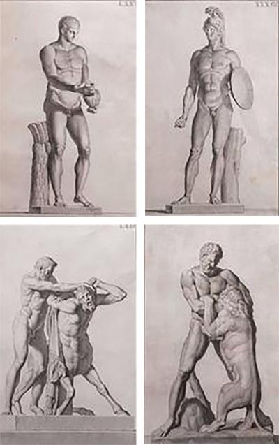 Carlo Gregori Set of Four Classical Prints by Carlo Gregori from Museo Fiorentino 1760