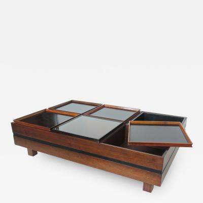 Carlo Hauner Carlo Hauner Large Coffee Table with Various Compartments for Forma Italy 1960s