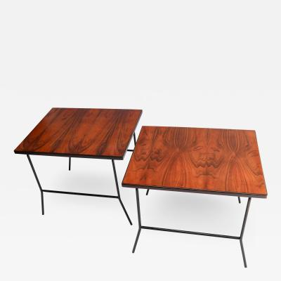 Carlo Hauner Pair of Carlo Hauner 1960s Mid Century Jacaranda Metal Side Tables