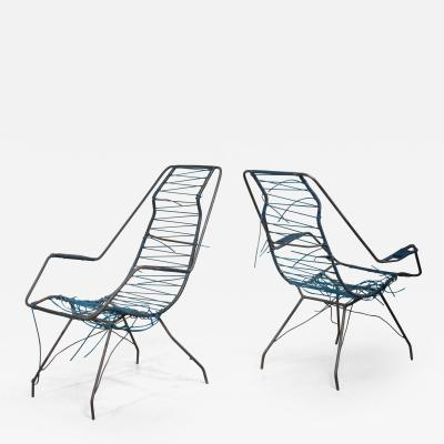 Carlo Hauner Pair of Hauner and Eisler iron lounge chairs