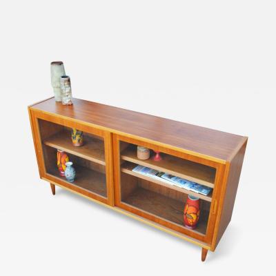 Carlo Jensen Carlo Jensen Teak Glass Cabinet w Angled Shelf Fronts for Hundevad