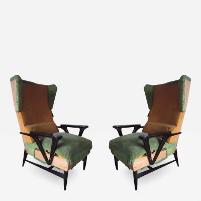 Carlo Mollino Large Mid Century Modern Wing back Lounge Chairs Carlo Mollino Attributed Pair