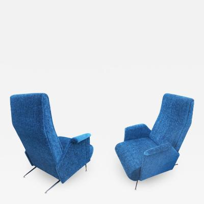 Carlo Mollino Pair of Italian Mid Century Armchairs in the Manner of Carlo Mollino
