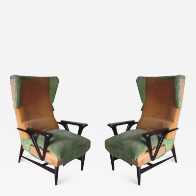 Carlo Mollino Pair of Large Italian Mid Century Modern Wing Back Lounge Chairs Carlo Mollino