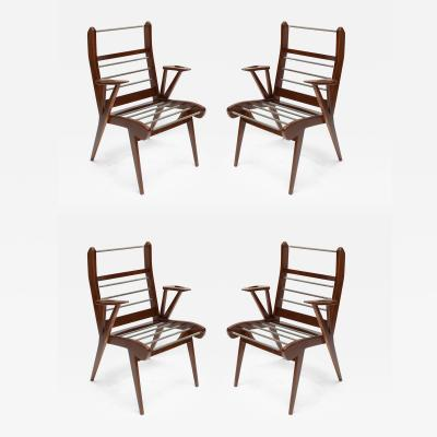 Carlo Mollino Set of Four 1950s Italian Mollino Style Armchairs or Dining Chairs