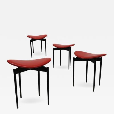 Carlo Mollino Set of Four Lutrario Stools designed by Carlo Mollino Italy 1959