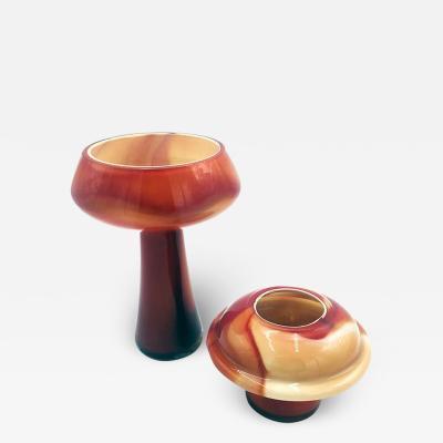 Carlo Moretti Red Murano glass vases by Carlo Moretti 1970s
