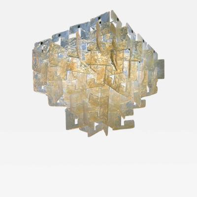 Carlo Nason Carlo Nason Interlocking Opalescent Glass Mazzega Chandelier Italy 1970s