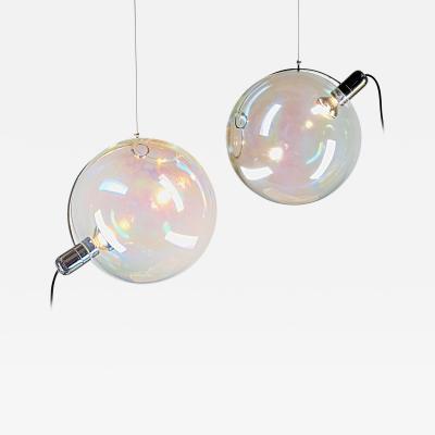 Carlo Nason Carlo Nason Lumenform Two Sona Lamps Iridescent Murano Glass Anticipates Modern