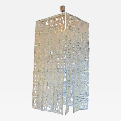 Carlo Nason Carlo Nason Very Large Scale Rectangular Glass Chandelier Italy Circa 1960