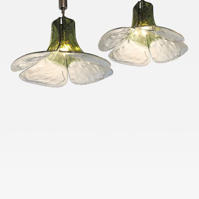 Carlo Nason Carlo Nason for Mazzega Pair of Clover Suspension Green Clear Murano Glass 1970s