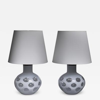 Carlo Nason Carlo Nason pair of Moon table lamps for Mazzega in white Italy 1970s