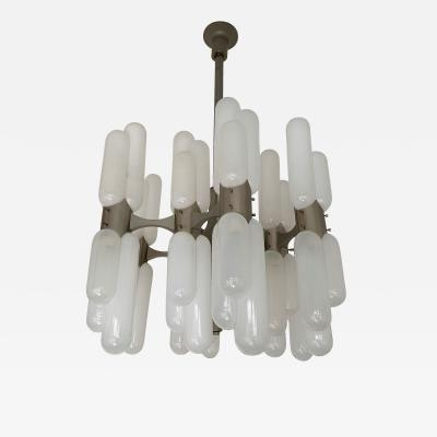 Carlo Nason Chandelier Torpedo Glass Metal by Carlo Nason for Mazzega Murano Italy 1970s