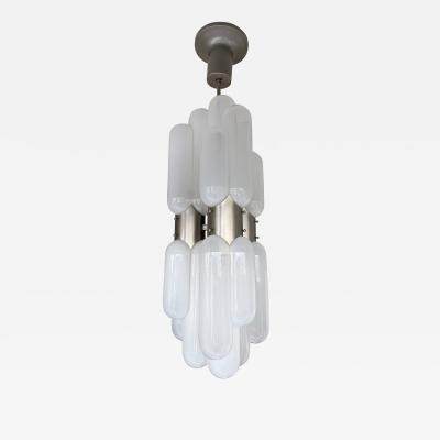 Carlo Nason Chandelier Torpedo Glass and Metal by Carlo Nason for Mazzega Italy 1970s