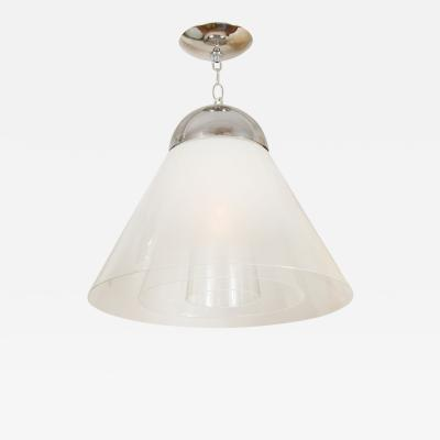 Carlo Nason Conical Lattimo Glass Pendant by Carlo Nason for Mazzega
