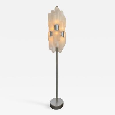 Carlo Nason Floor Lamp Torpedo Glass Metal by Carlo Nason for Mazzega Italy 1970s