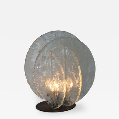 Carlo Nason Italian Glass Disc Table Lamp Designed by Carlo Nason for Mazzega