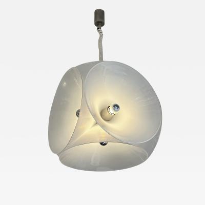 Carlo Nason Murano Glass Metal Pendant Light by Carlo Nason for Mazzega Italy 1970s