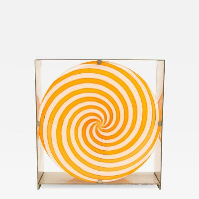 Carlo Nason Orange spiral table lamp in Murano glass by Carlo Nason for A V Mazzega 1960s
