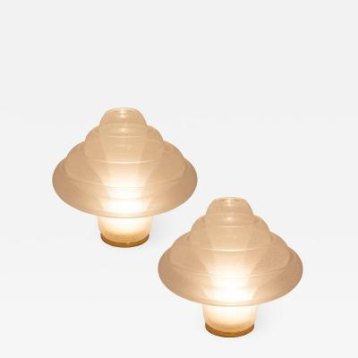 Carlo Nason Pair of Carlo Nason for Mazzega Lotus lamps circa 1970s