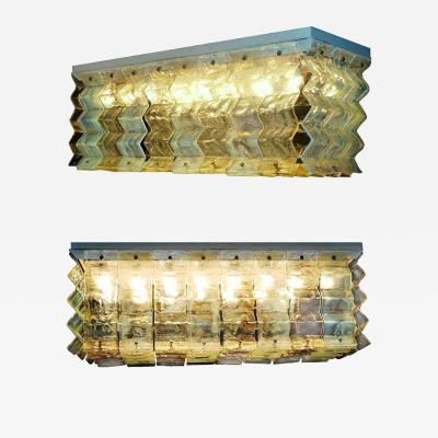 Carlo Nason Pair of Large Murano Glass Ceiling Lights by Carlo Nason for Mazzega 1970s