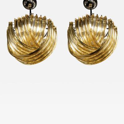 Carlo Nason Pair of Small Curvati Chandelier Amber Filigree Carlo Nason Design 1970s