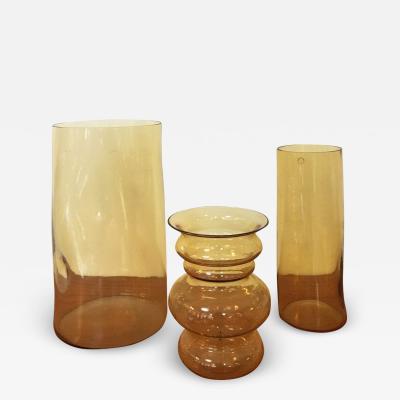 Carlo Nason Set of yellow blown Murano glass vases by Carlo Nason 1970s