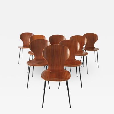 Carlo Ratti 8 Dining Chairs in Plywood Mod Lulli